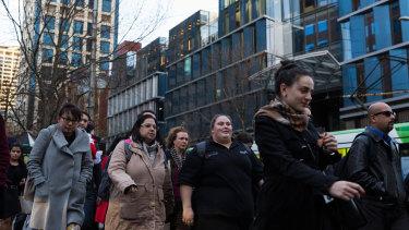 Pedestrians on Collins Street, Melbourne.