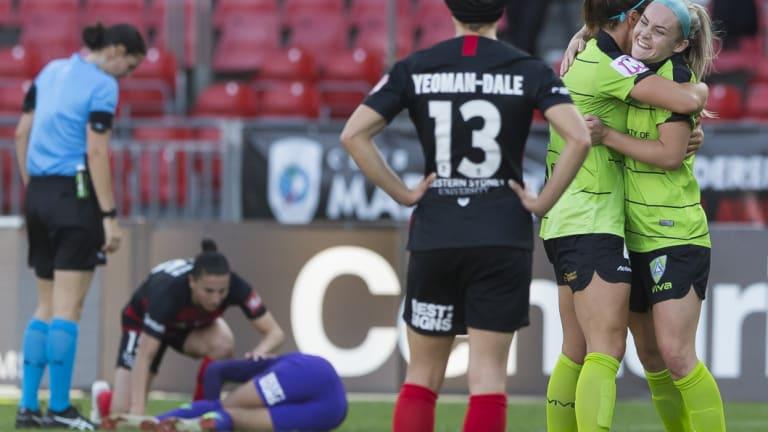 Ellie Carpenter celebrates scoring her controversial goal against Western Sydney.