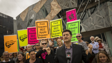 A protest last month against the planned demolition at Federation Square to make way for an Apple store.
