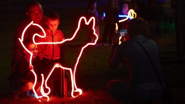 Another perspective of Neon Dog Park, part of this year's Enlighten Festival.