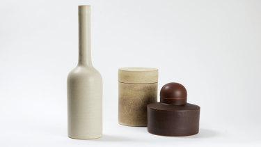 Ulrica Trulsson, Shape #1, set of three, stoneware, satin matt and dry glazes, iron stain, glossy interiors.