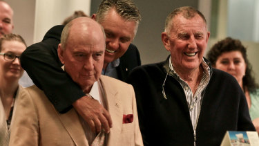 Happier times: Alan Jones, Ray Hadley and John Singleton celebrating 2GB's success in 2016.