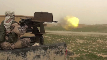 A video posted online last month by IS supporters purports to show a gun-mounted IS vehicle firing at members of the Syrian Democratic Forces, in Deir al-Zour.