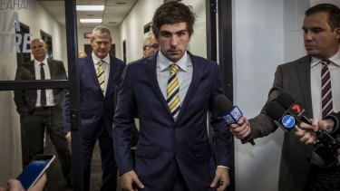 Andrew Gaff leaves the tribunal.