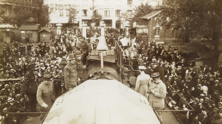 """The German railway gun, which became known as """"the Amiens Gun"""" after its capture on August 8, 1918 by the 31st Battalion during the Battle of Amiens.  The gun is on display at the Australian War Memorial."""