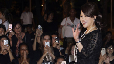 Thai Princess Ubolratana Mahidol waves outside the Grand Palace in Bangkok last year.