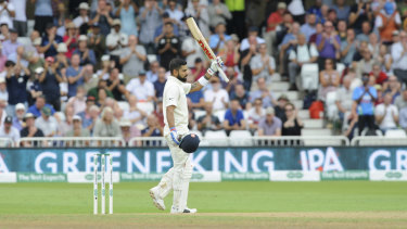 On fire: Indian cricket captain Virat Kohli celebrates his century during the third day of the third cricket Test against England.