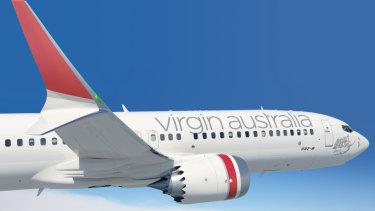 A mock-up of a Virgin Australia 737 MAX.