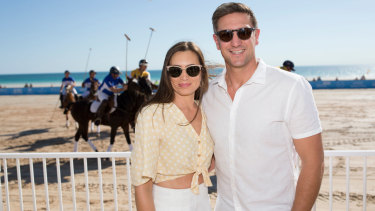 Matthew and Lauren Pavlich at Cable Beach Polo in Broome,