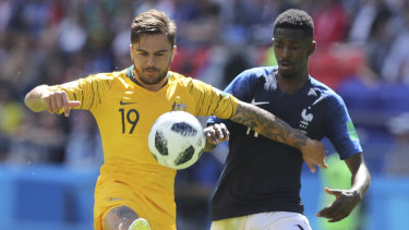 Top drawer: Josh Risdon played all three matches at the 2018 World Cup for the Socceroos.