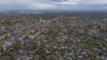 The poor district of Nhamudima, which has been razed by the passing cyclone, in the coastal city of Beira, Mozambique.