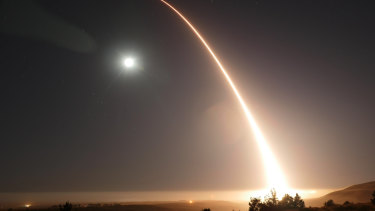 A Minuteman 3 intercontinental ballistic missile launches during an operational test  at Vandenberg Air Force Base, California.