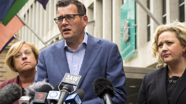 Premier Daniel Andrews, flanked by Police Minister Lisa Neville (left) and Attorney-General Jill Hennessy, announces the royal commission.