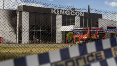 The Kingcon warehouse in Maribyrnong  where a suspicious fire broke out last month.