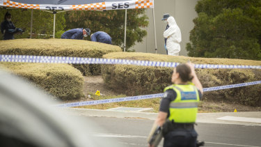 Forensic police examine the site near Main Drive and Plenty Road, Bundoora, where Aiia Maasarwe was found.