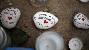 Stones used as part of a makeshift memorial outside the Tree of Life Synagogue to the 11 people killed during worship services on Saturday October 27 in Pittsburgh.