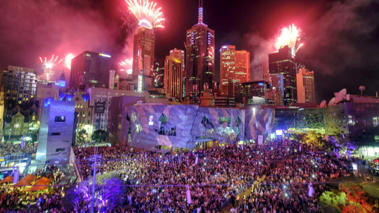 New Year's Eve fireworks as seen from Federation Square in Melbourne.