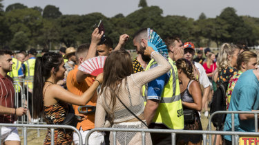There was a large police and security presence at music festivals around Sydney, including Electric Gardens festival at Centennial Park