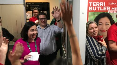 Labor's Terri Butler enters the campaign room at the Morningside Panthers AFL clubhouse.
