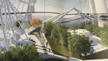 How the new Neville Bonner Bridge will connect to South Bank in front of the Wheel of Brisbane. Four trees will be lost if the plans are adopted.