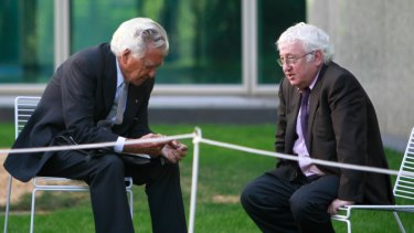 Bob Hawke chats with former ACTU warrior Bill Kelty  at Parliament House in 2011.
