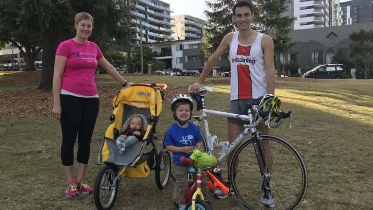 Meet Brisbane's fittest family, Aidan and Peta Hobbs and their children Levi and baby Nathan.