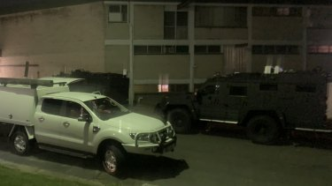 Armoured police vehicles in Southport on the Gold Coast during the standoff.