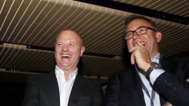 Former Commonwealth Bank of Australia chief executive Ian Narev and UBS' Matthew Grounds.
