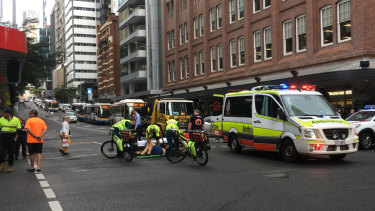 The man was hit at the intersection of Adelaide and Creek streets shortly before 10.45am.
