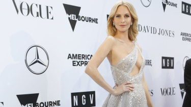 English model and actress Poppy Delevingne on the white carpet for the second annual NGV Gala on Saturday night.