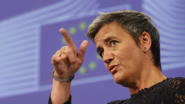 """EU Competition Commissioner Margrethe Vestager says the proposals aim to """"make sure that we, as users, as customers, businesses, have access to a wide choice of safe products and services online, just as well as we do in the physical world,"""""""