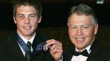 Ben Cousins poses with his father Bryan after winning the 2005 Brownlow Medal.