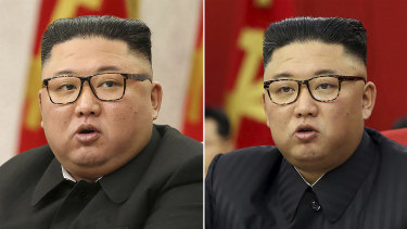 Kim Jong-un, pictured on February 8 (left) and on June 15 (right).
