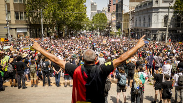 Thousands marched through the streets of Melbourne to protest against Australia Day last year.