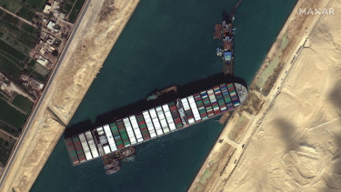 The container ship Ever Given wedged in the Suez Canal.