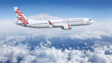 A mock-up of a Virgin 737 MAX. The airline has 40 of the aircraft on order.