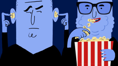 How do I avoiding disturbing others when eating snacks at the cinema?