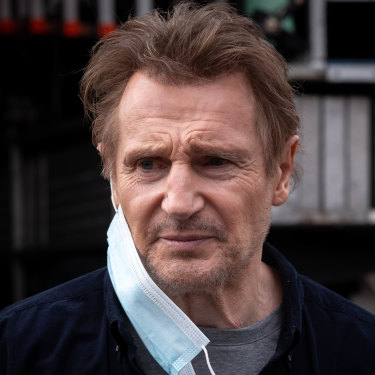 Liam Neeson on the set of Blacklight, the $42 million action thriller being filmed in Melbourne.