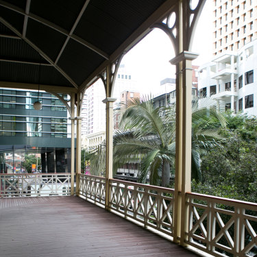 The second-level verandahs of the old building were reinstated in the 1980s during the first refurbishment by the council.