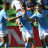 Melbourne City hold tight to claim three points against 10-man Jets