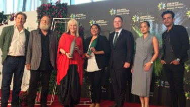 Asia Pacific Screen Awards preview in Brisbane on November 21, 2019. Left to right: Australian actor David Wenham, APSA academy president Jack Thompson AM, 2017 APSA winner Greer Simpkin, Australian actor & awards co-host Deborah Mailman, Brisbane lord mayor Adrian Schrinner, Philippines actress Max Eigenmann & Indian actor Manoj Bajpayee.