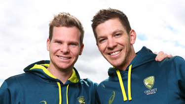 Back to the future?: Former Australian captain Steve Smith with his successor, Tim Paine.