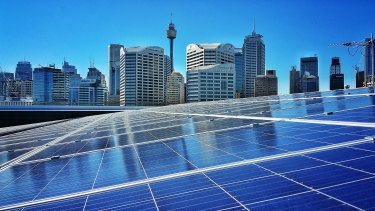 The solar installation at Sydney's International Convention Centre. Australia has become a world leader in renewable energy.