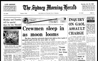 Sleeping spacemen on the front page of the Herald on July 19, 1969.