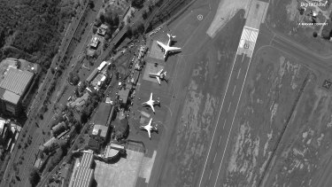 Satellite image shows Venezuela's Simon Bolivar International Airport shortly after four Russian military aircraft arrived last December.