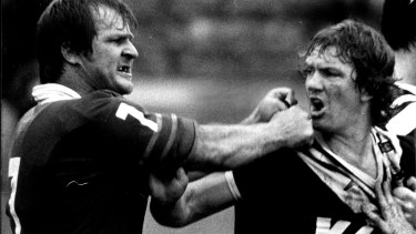 Tom Raudonikis shows the Newtown fighting spirit against Wests in 1981.
