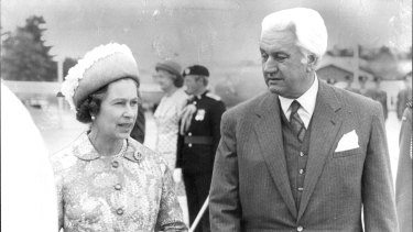 The Queen with governor-general Sir John Kerr in 1977.