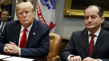 President Donald Trump pictured last year with Labor Secretary Alexander Acosta, who has attracted attention for his role in the case of Jeffrey Epstein.