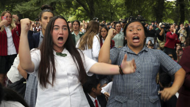 New Zealand students perform the haka during a vigil to commemorate victims of the Christchurch shootings.