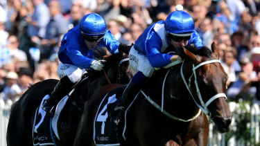Too good: Winx sprints away from Kementari in the George Ryder Stakes in the autumn.